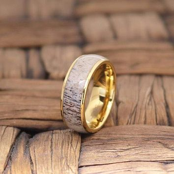 KETAN Men's Domed Tungsten Ring with Deer Antler and Yellow Gold Inlay - 8MM