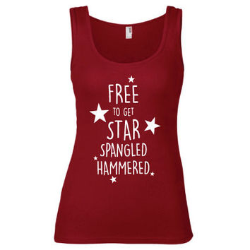 4th of July Independence Day Clothing -  Free to Get Star Spangled Hammered Semi-Fitted Tank - Ladies