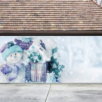Christmas Garage Door Cover Banners 3d Snowman Holiday Outside Decorations Outdoor Decor for Garage Door G37