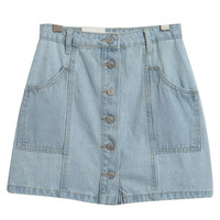 Button Fly Side Pockets Denim Skirt