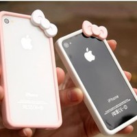 MagicPieces Cute Pink Bowtie White Frame Case for iPhone 4/4S