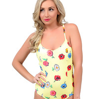 Betsey Johnson Yellow Floral Caroline Crossover One Piece Swimsuit