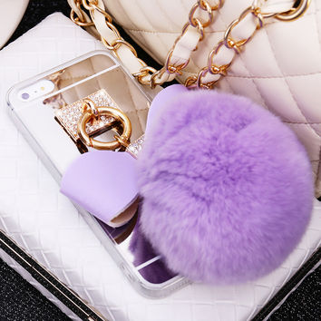 Phone Case For Iphone 7 7 Plus 6 6S Plus Electroplating Women Sweet Rabbit Fur Ball Bowknot Crystal Buckle Soft TPU Back cover
