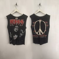 Kiss shirt customized vintage t shirt band t-shirts 1996 cut off crop top rock tees rock n roll clothing peace sign cropped t-shirt medium