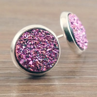 Small Druzy earrings- Purple magenta drusy silver tone stud druzy earrings