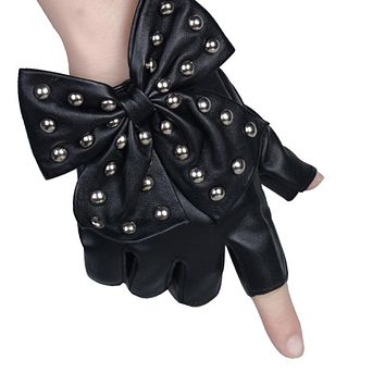 rivets stud bow pu leather fingerless black glove mitt sport riding motor batcave goth punk rock stage party harajuku costume