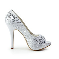 Satin Stiletto Heel Platform With Rhinestone Wedding Shoes (More Colors Available) - USD $ 49.99
