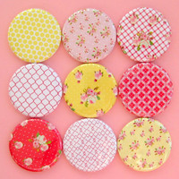 Rose Magnets - Pink and Yellow - Set of Nine 1.25 Inch Button Magnets in a Tin