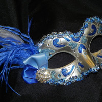 Feather Masquerade Mask in Light Blue Royal Blue and Silver - Royal Blue Masquerade