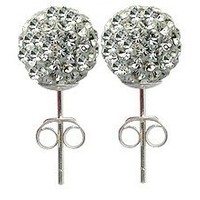 8MM Rhodhium bling bling Stud Earrings by GlitZ JewelZ © - Clear Color