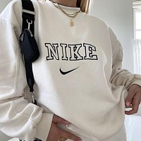 NIKE Classic hot sale printed letter logo hooded sweatshirt Sweater