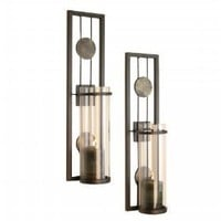 Contemporary Metal Candle Sconce Set - 2 Pc