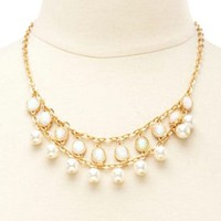 Opal & Pearl Statement Necklace by Charlotte Russe - Gold