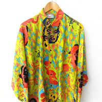 CLEARANCE SALE 25% Vintage Marilyn MONROE Pop Art Punk Street Wear Couture Andy Warhol 80's Yellow Royalty Swag Button Shirt Xl