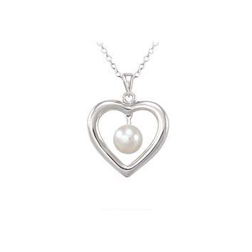 """White Pearl Heart Necklace 26mm .925 Sterling Silver, 18"""" Chain"""