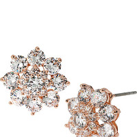BETSEY CZ RHINESTONE CLUSTER STUD EARRING ROSE GOLD