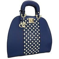 Top Handle Purse Rhinestone Handbag w/ Shoulder Strap Navy