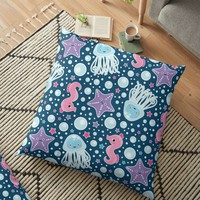 'Seahorses & Jellyfish' Floor Pillow by ketrena