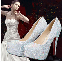 2016 New Rhinestone Red Bottom High Heels Platform Cinderella Shoes Women Pumps Party Wedding Shoes 9/11/14cm heel big size33-42