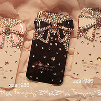 iPhone 4 bow case diamond iphone 4 case Handmade crystal iphone 4S 4G bling case cover crystal bowknot