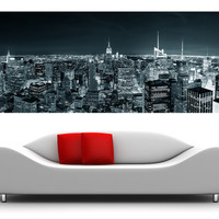 "Panorama New York canvas oversized wall art home decoration - city skyline 119""x45,5"""
