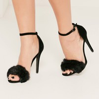 Missguided - Black Fluffy Vamp Strap Barely There Heeled Sandals