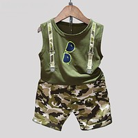 Children Boy Clothes Sets Kids Sleeveless T-Shirt Toddler Suits Camouflage Shorts Child Clothing