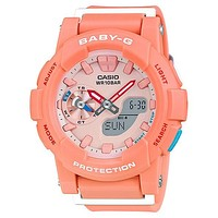 Casio Womens Baby-G Watch - Peach Case - Stopwatch - 100m - Analog Digital