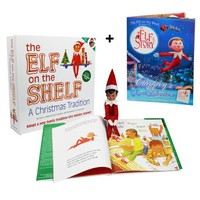 """Elf on the Shelf : A Christmas Tradition Brown Eyed Elf Plus Bonus Official """"An Elf's Story - Chippey's Great Adventure"""" Easy to Read Storybook"""