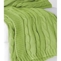 Lime Green Favorite Cable Knit Sweater Throw