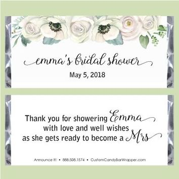 Floral Watercolor Bridal Candy Bar Wrappers