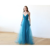 Teal blue straps maxi tulle dress 1053