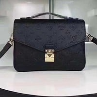 LV Louis Vuitton Popular Ladies Candy Color Shopping Leather Shoulder Bag Handbag Crossbody Purple I