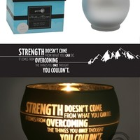 Green Earth Stores | 00213897683 - Strength Doesn't Come - Candle Holder - Silver