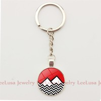Twin Peaks Charm Key Chain Glass Dome Pendant Keychains Alloy Ziny Silver/bronze Color Key Holder Women Men Jewelry