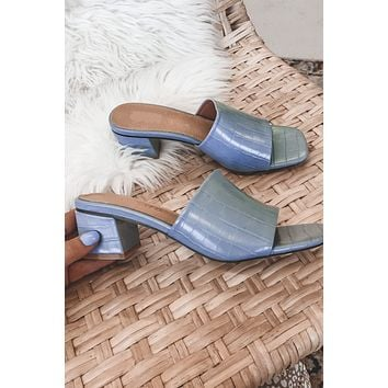 Anything But Feeling Blue Croc Mules
