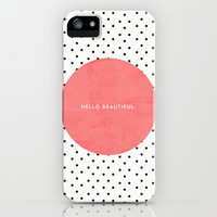 HELLO BEAUTIFUL - POLKA DOTS iPhone & iPod Case by Allyson Johnson