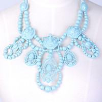 Faux Bling Necklace Blue   Dinner with Dorian   Online Fashion Boutique