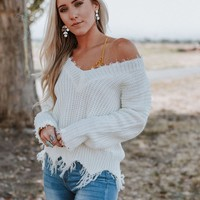 Rori Frayed V Neck Sweater - White