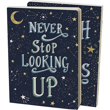 Never Stop Looking Up Reach For The Stars Double-Sided Journal   160 lined pages