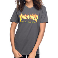 Thrasher Flame Logo Heavy Metal Boyfriend Fit T-Shirt