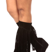 Black Faux Suede Fringe Calf Length Wedge Boots