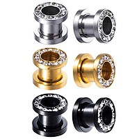6PC Plugs Screw Fit Ear Tunnels Gauge Clear CZ Crystal Jeweled Plugs Stretcher Set 4G-12mm