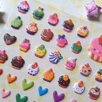 Cupcake puffy sticker handmade muffin sticker cake shop sticker colorful stars mini label puffy heart rainbow color heart and star scrapbook