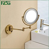 """Antique Brass LED Light Makeup Mirrors 8""""Round Dual Sides 3X /1X Mirrors Bathroom Cosmetic Mirror Wall Mount Magnifying Mirror"""