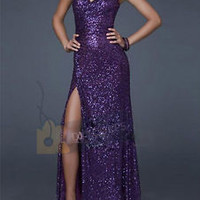 Sexy Long Formal Party Evening Dresses Bridesmaid Dress Prom Sequin Slit Dress