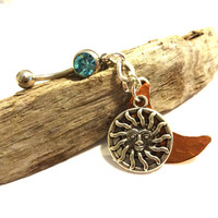 Celestial Silver Sun Charm and Copper Moon Mystical Aquamarine Belly Button Ring, Mixed Metal Body Jewelry
