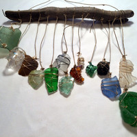 Beach Glass Suncatcher Driftwood Mobile Sea Glass Mobile Ecofriendly Upcycled Recycled Whimsical Beach Art Lake Erie