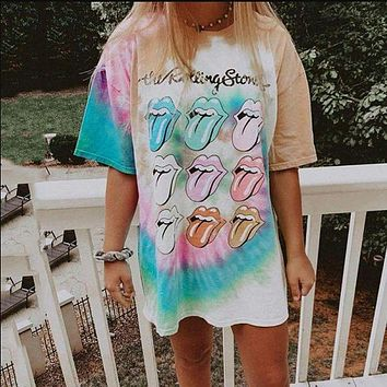 2020 new women's casual round neck short sleeve printed mid-length pullover T-shirt