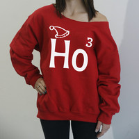 Ho Ho Ho slouchy sweatshirt. Ho3 Christmas sweater. Oversized Holiday shirt with off-the-shoulder neck-line. S-4XL.